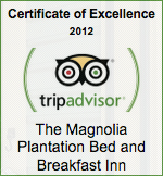 certificate of excellence trip advisor, magnolia plantation bed and breakfast inn and cottages, gainesville, florida